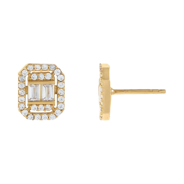 14K Gold CZ Illusion Baguette Stud Earring 14K - Adina's Jewels