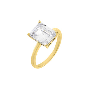Gold / 6 CZ Emerald Stone Ring - Adina's Jewels