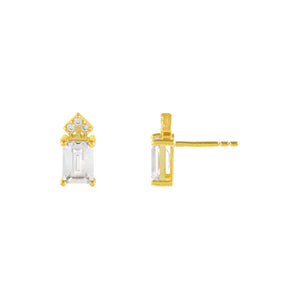 Gold CZ Colored Emerald Stone Stud Earring - Adina's Jewels
