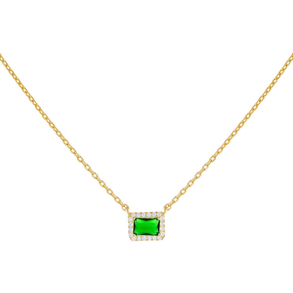 Emerald Green CZ Colored Illusion Necklace - Adina's Jewels