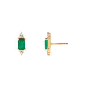 14K Gold Diamond X Emerald Baguette Stud Earring 14K - Adina's Jewels