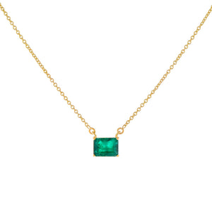 Emerald Green Diamond Emerald Stone Necklace 14K - Adina's Jewels