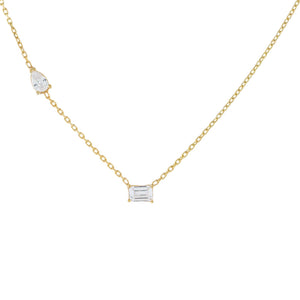 Gold CZ Baguette X Pear Stone Necklace - Adina's Jewels