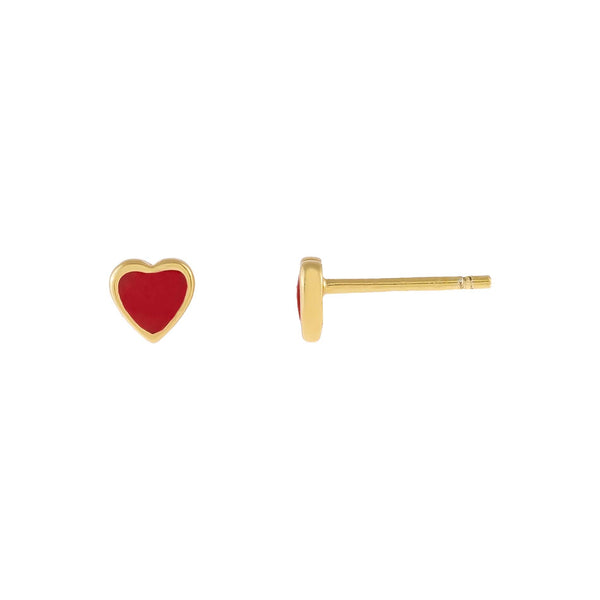 Ruby Red Tiny Red Enamel Heart Stud Earring - Adina's Jewels