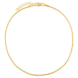 Gold Thin Rope Chain Anklet - Adina's Jewels