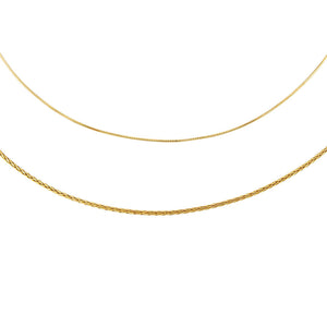 Gold Thin Snake X Rope Chain Necklace Combo Set - Adina's Jewels