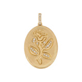 14K Gold Diamond Rose Coin Charm 14K - Adina's Jewels