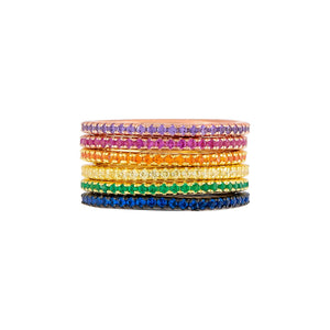 Combo / 6 Thin CZ Colored Band Combo Set - Adina's Jewels