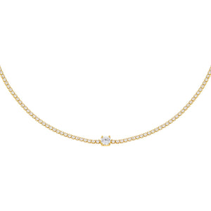 Gold CZ Solitaire Tennis Choker - Adina's Jewels