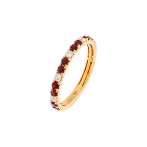 Ruby Red / 6 Diamond Colored Band 14K - Adina's Jewels