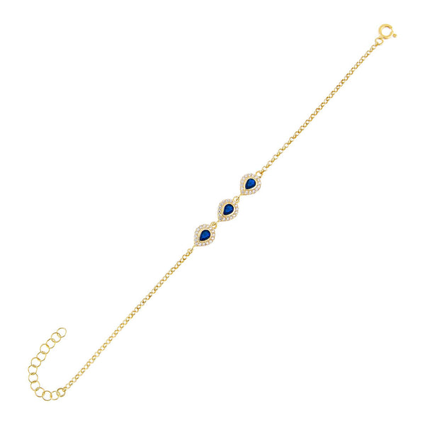 Sapphire Blue CZ Colored Illusion Teardrop Bracelet - Adina's Jewels