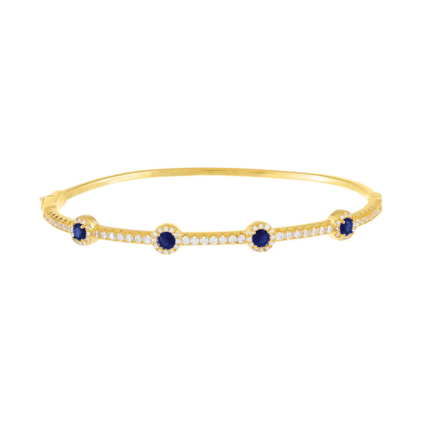 Sapphire Blue CZ Colored Solitaire Bangle - Adina's Jewels