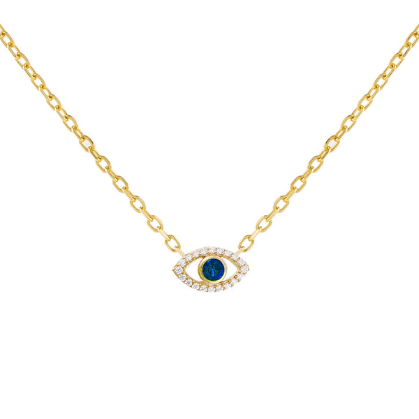 Sapphire Blue CZ Colored Evil Eye Necklace - Adina's Jewels