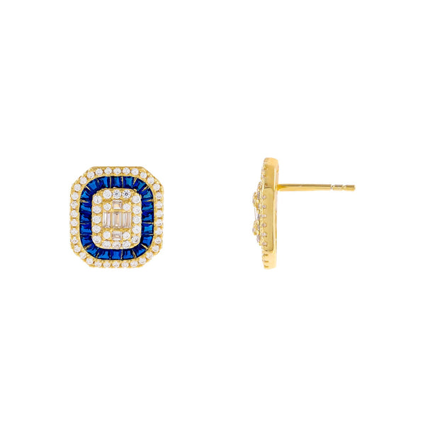 Sapphire Blue CZ Colored Illusion Stud Earring - Adina's Jewels