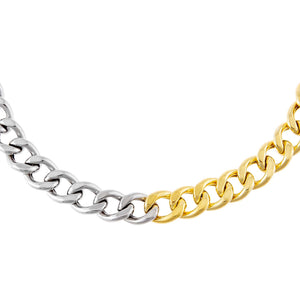 Combo Two Tone Miami Curb Large Links Choker - Adina's Jewels