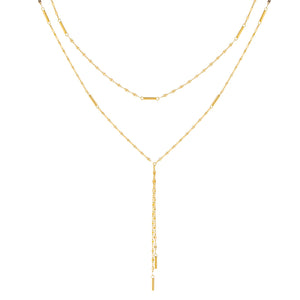 14K Gold Singapore X Mariner Link Double Chain Lariat 14K - Adina's Jewels