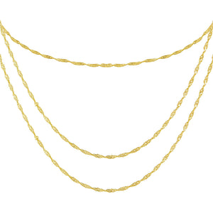 Gold Singapore Chain Necklace Combo Set - Adina's Jewels