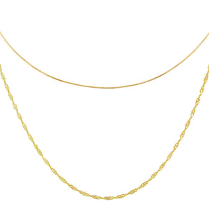 Gold Snake X Singapore Chain Necklace Combo Set - Adina's Jewels