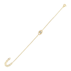 Gold CZ Colored Evil Eye Bracelet - Adina's Jewels