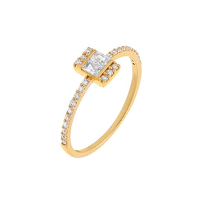 14K Gold / 8 Thin CZ Baguette Ring 14K - Adina's Jewels