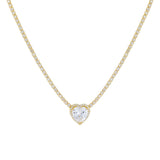 Gold CZ Colored Heart Tennis Necklace - Adina's Jewels