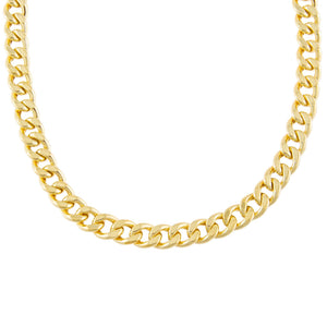 Gold Medium Miami Curb Link Necklace - Adina's Jewels