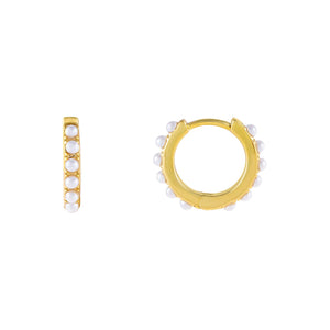 Pearl White / 16 MM Thin Pearl Huggie Earring - Adina's Jewels