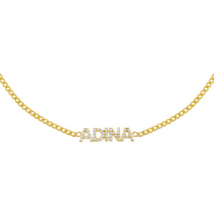 Gold Pavé Nameplate Choker - Adina's Jewels