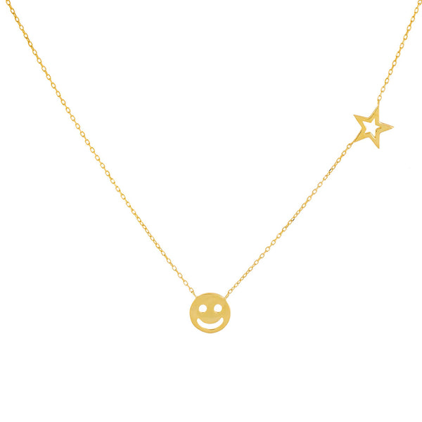 Gold Smiley Face X Star Necklace - Adina's Jewels