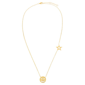Smiley Face X Star Necklace - Adina's Jewels