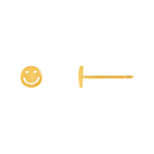 Gold Smiley Face Stud Earring - Adina's Jewels