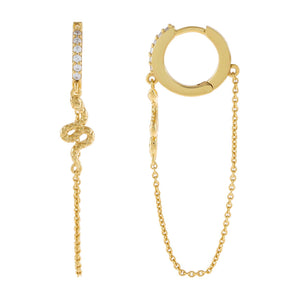 Gold CZ Snake Chain Huggie Earring - Adina's Jewels