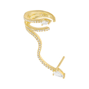 Gold / Right Pavé Teardrop Wrap Ear Cuff X Stud Earring - Adina's Jewels