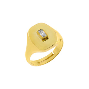 Gold / 6 CZ Baguette Signet Ring - Adina's Jewels