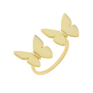 Gold Solid Double Butterfly Ring - Adina's Jewels