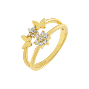 Gold / 6 CZ Flower X Solid Butterfly Ring - Adina's Jewels