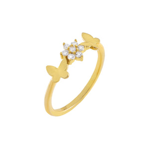 Gold Butterflies X CZ Flower Ring - Adina's Jewels