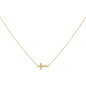14K Gold Mini Solid Cross Necklace 14K - Adina's Jewels