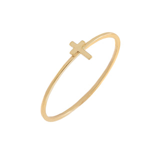 14K Gold / 6 Mini Cross Ring 14K - Adina's Jewels