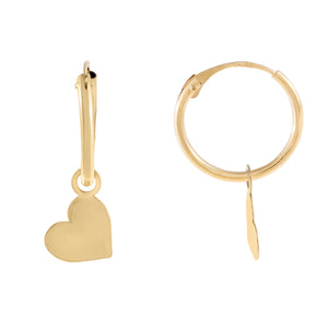 14K Gold Solid Heart Hoop Earring 14K - Adina's Jewels