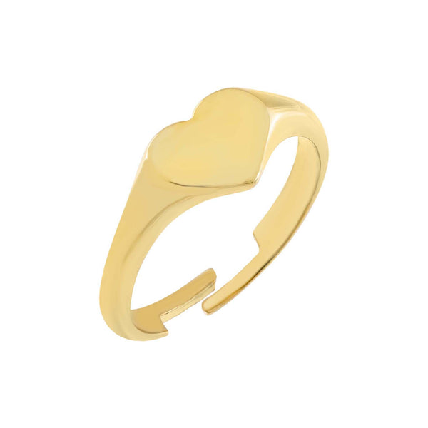 Gold Solid Heart Adjustable Ring - Adina's Jewels