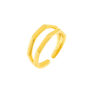 Gold Solid Bamboo Double Row Ring - Adina's Jewels