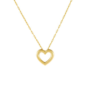 Gold Solid Hollow Open Heart Link Necklace - Adina's Jewels