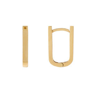 14K Gold Solid U Shaped Huggie Earring 14K - Adina's Jewels