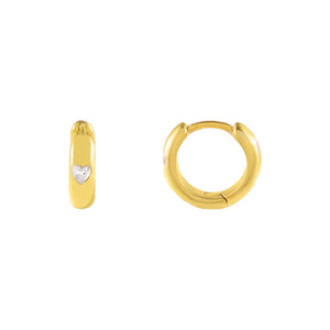 Gold CZ Mini Heart Huggie Earring - Adina's Jewels