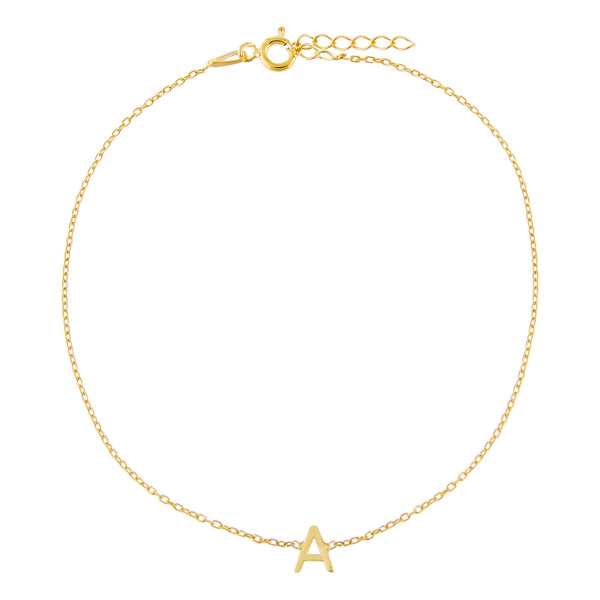 Gold / A Solid Uppercase Initial Anklet - Adina's Jewels