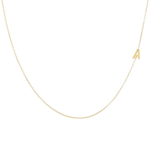 Gold / A Solid Sideways Initial Necklace - Adina's Jewels