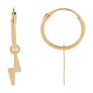 14K Gold Solid Lightning Bolt Hoop Earring 14K - Adina's Jewels