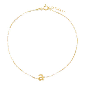 Gold / A Solid Lowercase Initial Anklet - Adina's Jewels