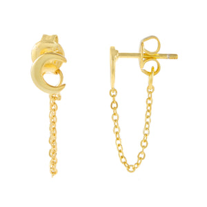 Gold Tiny Moon Chain Stud Earring - Adina's Jewels